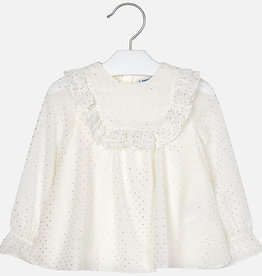 Mayoral White Blouse w/silver detailing