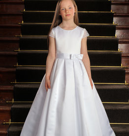 Sweetie Pie Simple First Holy Communion Dress w/ embellished sleeves