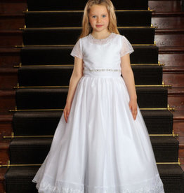Sweetie Pie Lace & Embellished First Holy Communion Dress w/train