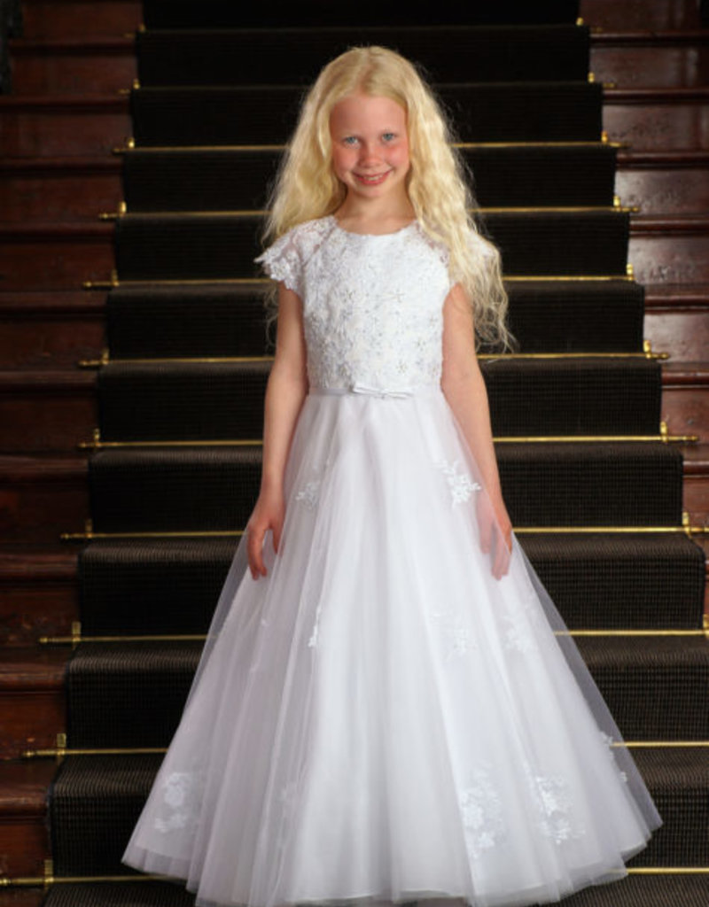 Sweetie Pie Floral Lace First Holy Communion Dress w/appliques