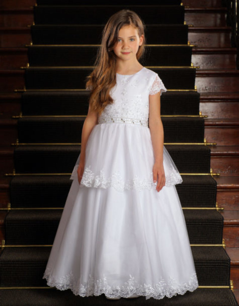 Sweetie Pie Tiered Floral Lace First Holy Communion Dress, Capped Sleeves