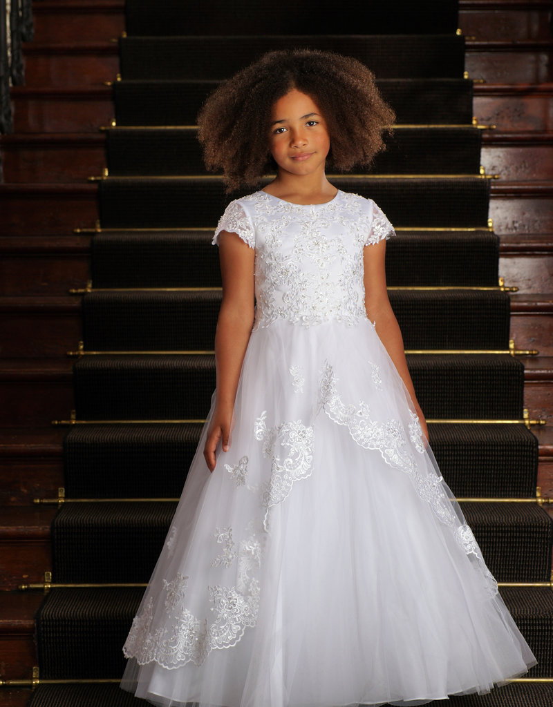 Sweetie Pie Scalloped Lace First Holy Communion Dress