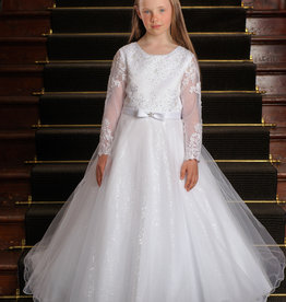 Sweetie Pie LS Glimmer Lace First Holy Communion Dress