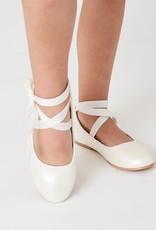 Hello Baby White Ankle Ribbon Mary Jane Flats