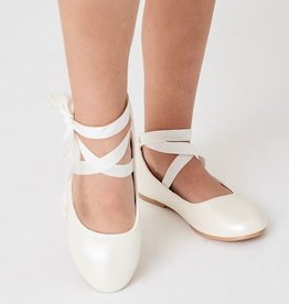 Hello Baby White Ankle Ribbon Mary Jane Flats