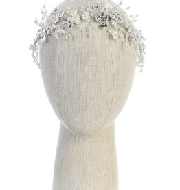 Hello Baby White & Silver Floral Pearl Head Piece