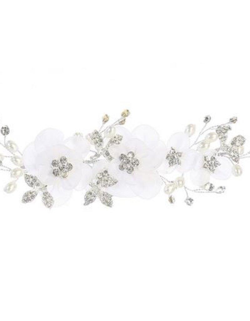 Hello Baby White Rhinestone Floral Hair Clip