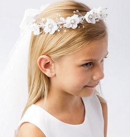 Hello Baby Pearl Accented Flower-Crown Veil