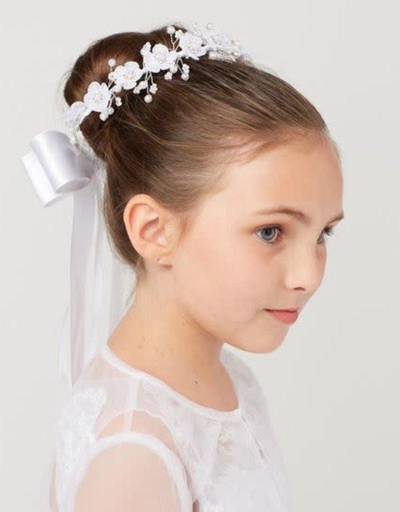 "Hello Baby Floral Communion ""Bun Headband Veil"" w/organza bow"