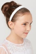 Hello Baby Pearl & Crystall Bead White Communion Headband