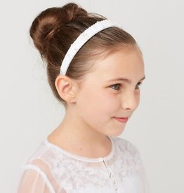 Hello Baby Pearl & Crystall Bead White Communion Headband