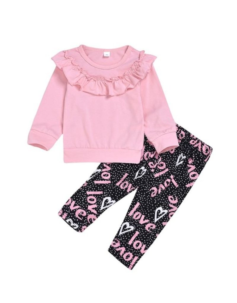 Baby Kiss Pink & Black Love Lounge Set