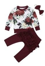 Baby Kiss Floral Maroon Top, Ruffle Legging & Headband Set