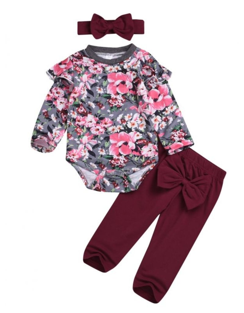 Baby Kiss Maroon Bow Accented Floral Legging Set