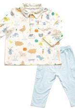 Angel Dear Little Farm Polo & Pant Set 3-6m