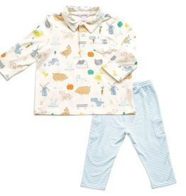 Angel Dear Little Farm Polo & Pant Set 3-6m
