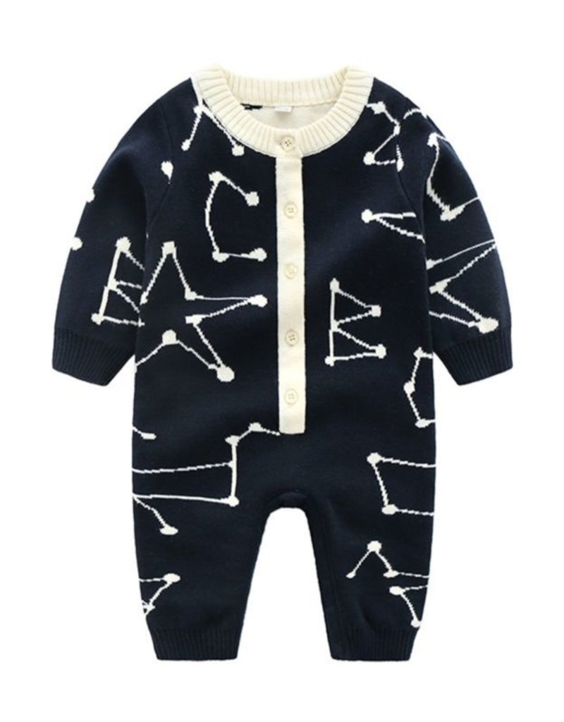 Baby Kiss Constellations Knit Romper & Hat Set