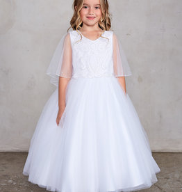 Tip Top Kids Embroidered Flutter Sleeve First Communion Dress