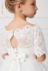 Tip Top Kids Elegant Tiered Lace IVORY First Holy Communion Dress