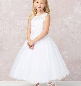 Tip Top Kids Simple White Button Back First Holy Communion Dress