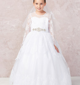 Tip Top Kids Lace Keyhole Back LS First Holy Communion Dress