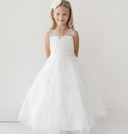 Tip Top Kids Floral Embellished Mesh First Holy Communion Dress