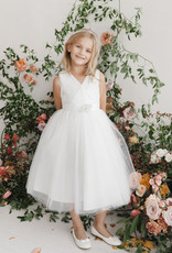 Tip Top Kids White Glimmer Tulle Communion Dress