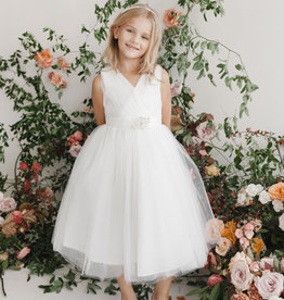 Tip Top Kids White Glimmer Tulle Communion Dress