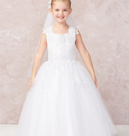 Tip Top Kids Lace Up Back First Holy Communion Dress