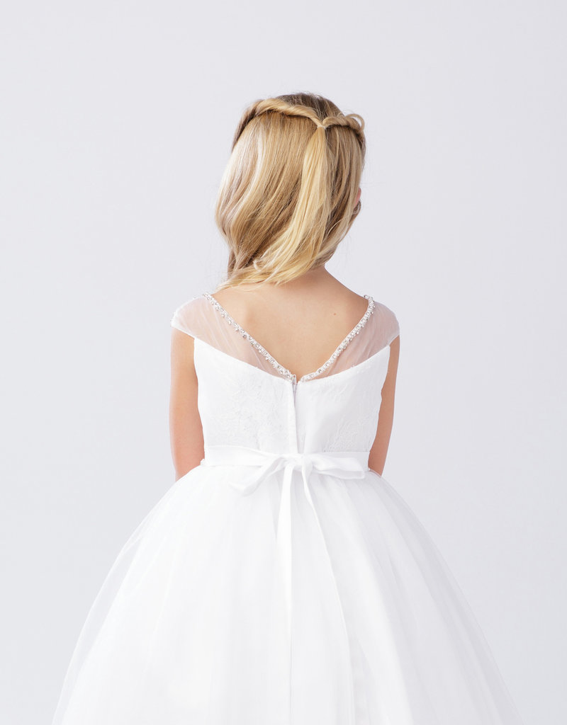 Tip Top Kids Rhinestone Accented Mesh First Holy Communion Dress