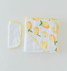 Little Unicorn Cotton Hooded Towel & Washcloth Set- Lemons