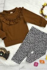 HB Ruffled Crewneck & Leopard leggings set
