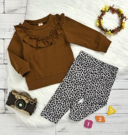 HB Ruffled Crewneck & Leopard leggings set