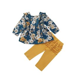 HB Floral Teal & Mustard Ruffled Set