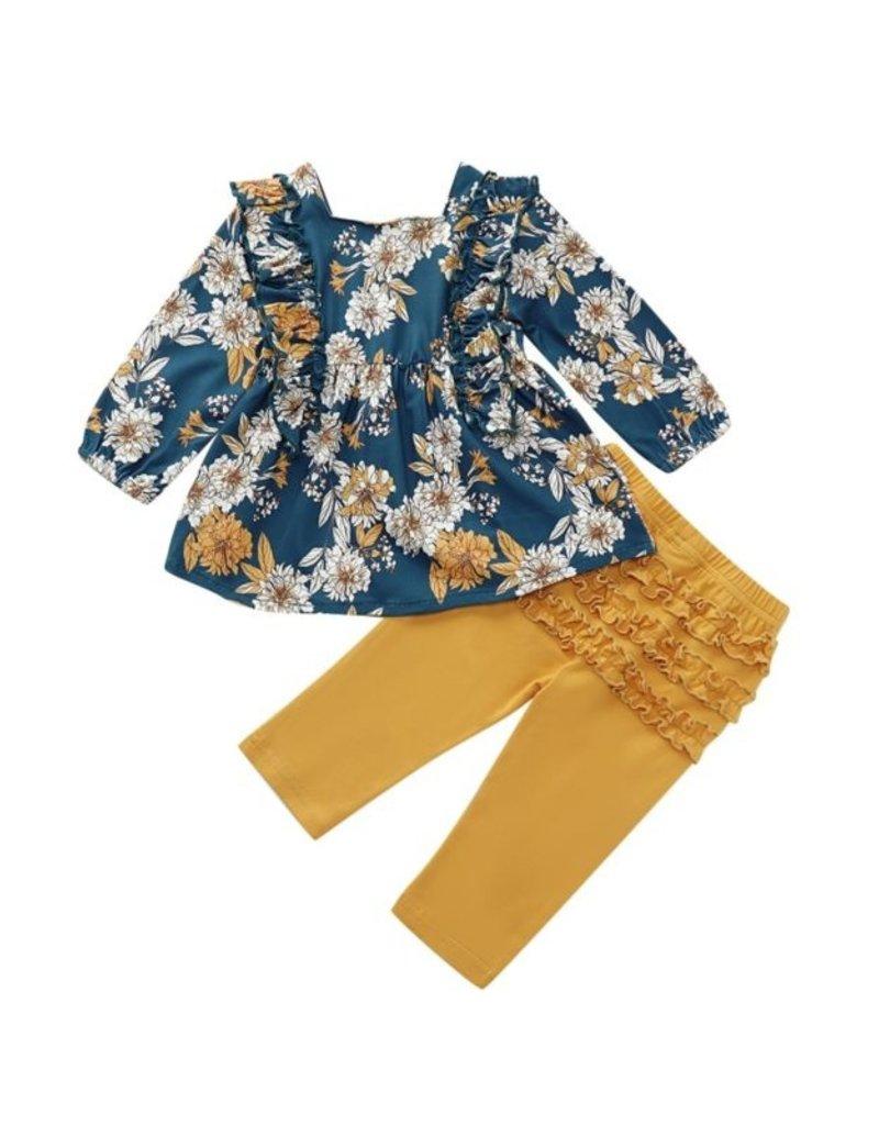 HB Floral Teal & Mustard Ruffled Set