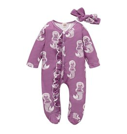 HB Purple Ruffle Mermaid Onesie w/headband