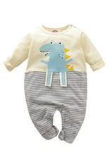 HB Striped Grey Dino Romper
