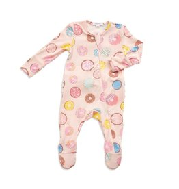 Donuts Ruffle Zipper Footie and Hat Set NB