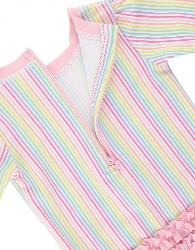 RuffleButts/RuggedButts Rainbow Stripe One Piece Rash Guard