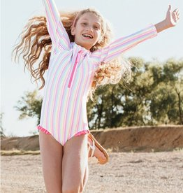 RuffleButts/RuggedButts Girls Rainbow StripeOne Piece Rash Guard
