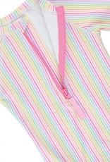 RuffleButts/RuggedButts Girls Rainbow StripeOne Piece Rash Guard