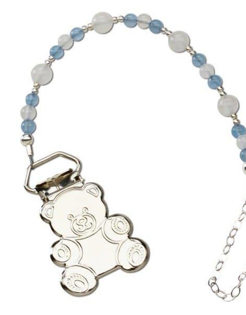 Sterling Silver Teddy Bear Binky Clip