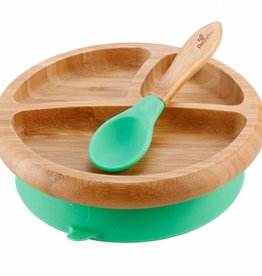 Bamboo Stay-Put Suction Plate and Spoon - Green