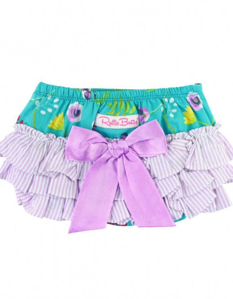RuffleButts/RuggedButts Rufflebutts Sweet Meadow Bow-Front Swing Top RuffleButt 2pc Set