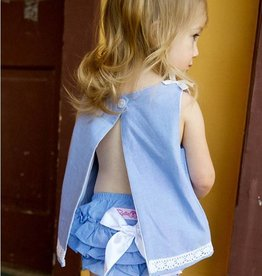 RuffleButts/RuggedButts Blue Chambray Swing Top RuffleButt 2pc Set