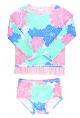 RuffleButts/RuggedButts Pastel Petals Long Sleeve Rash Guard Bikini