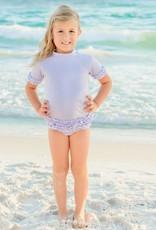 RuffleButts/RuggedButts Periwinkle Blue Seersucker Rash Guard Bikini