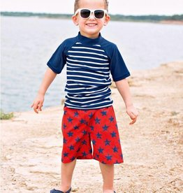RuffleButts/RuggedButts Rufflebutts Red/Blue Star Swim Trunks