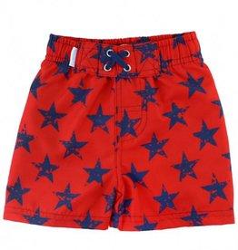 RuffleButts/RuggedButts Red & Blue Star Swim Trunks