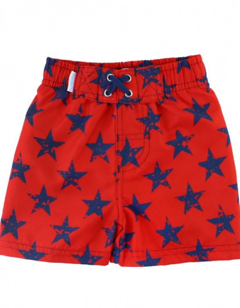 RuffleButts/RuggedButts Rufflebutts Red/Blue Star Swim Trunks